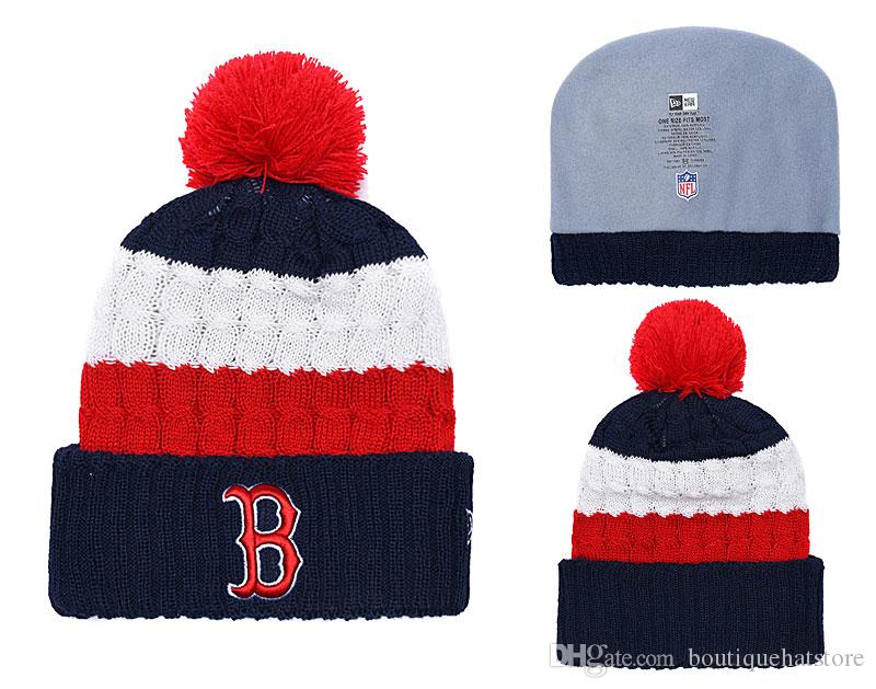 2546f2f8be3 Top Quality Red Sox Beanies With Funny Pom Logo Embroidered Classic Sport  Baseball All Teams Boston Winter Skullies Hat For Men And Women Fitted Caps  Knit ...
