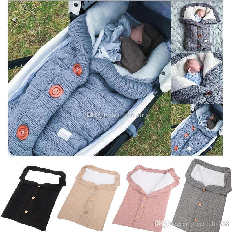 Baby Button Knitted Sleeping Bags Newborn Stroller sleeping bag Toddler autumn Winter Wraps Swaddling 5 colors infant bed sheet C5513