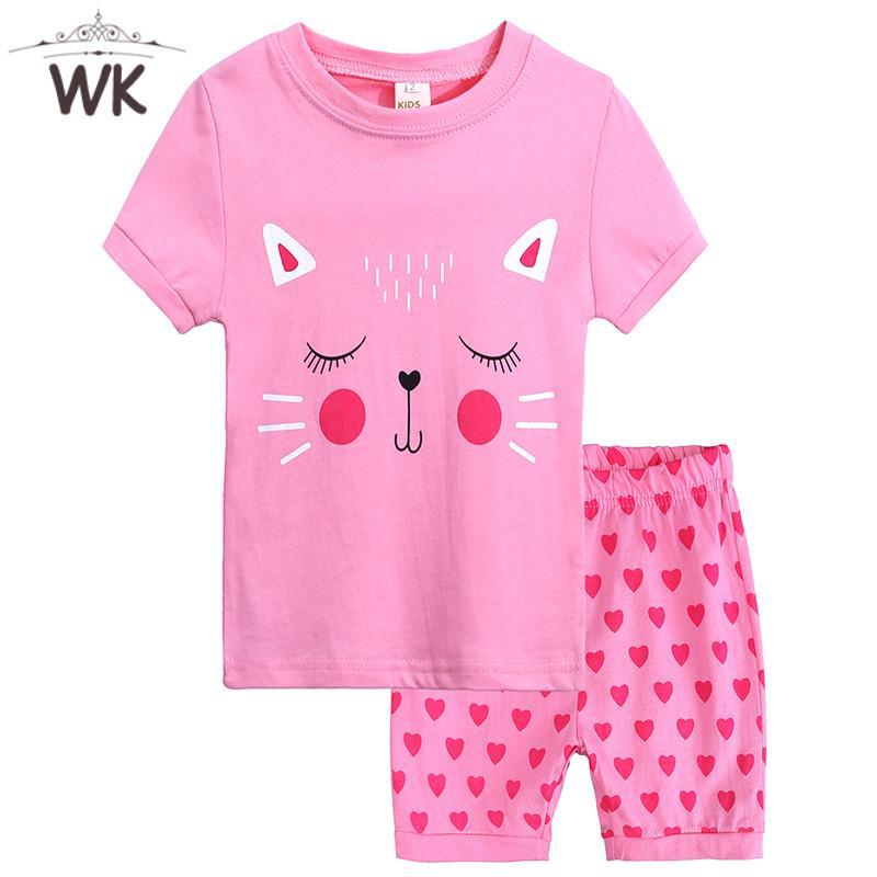 124b77b552 Compre JT 339 Ropa De Niños Nuevas Pijamas Conjuntos De Diseño De Dibujos  Animados Camiseta + Corazón Del Amor Pantalones Cortos 2 UNIDS Conjuntos  Niñas ...