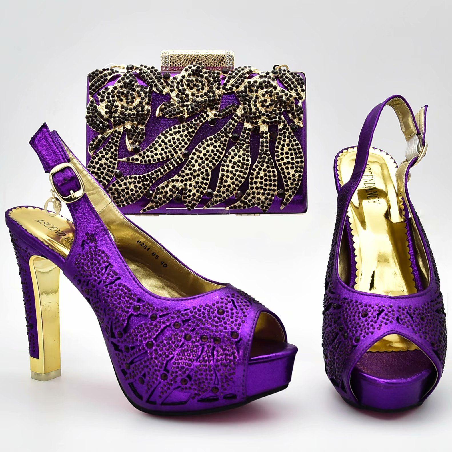 282046483857fb Acheter Chaussures Italiennes Avec Sac Assorti Escarpins Femmes 2018  Couleur Mauve Chaussures Africaines Africaines De $74.38 Du Mlk_africashoes  | DHgate.