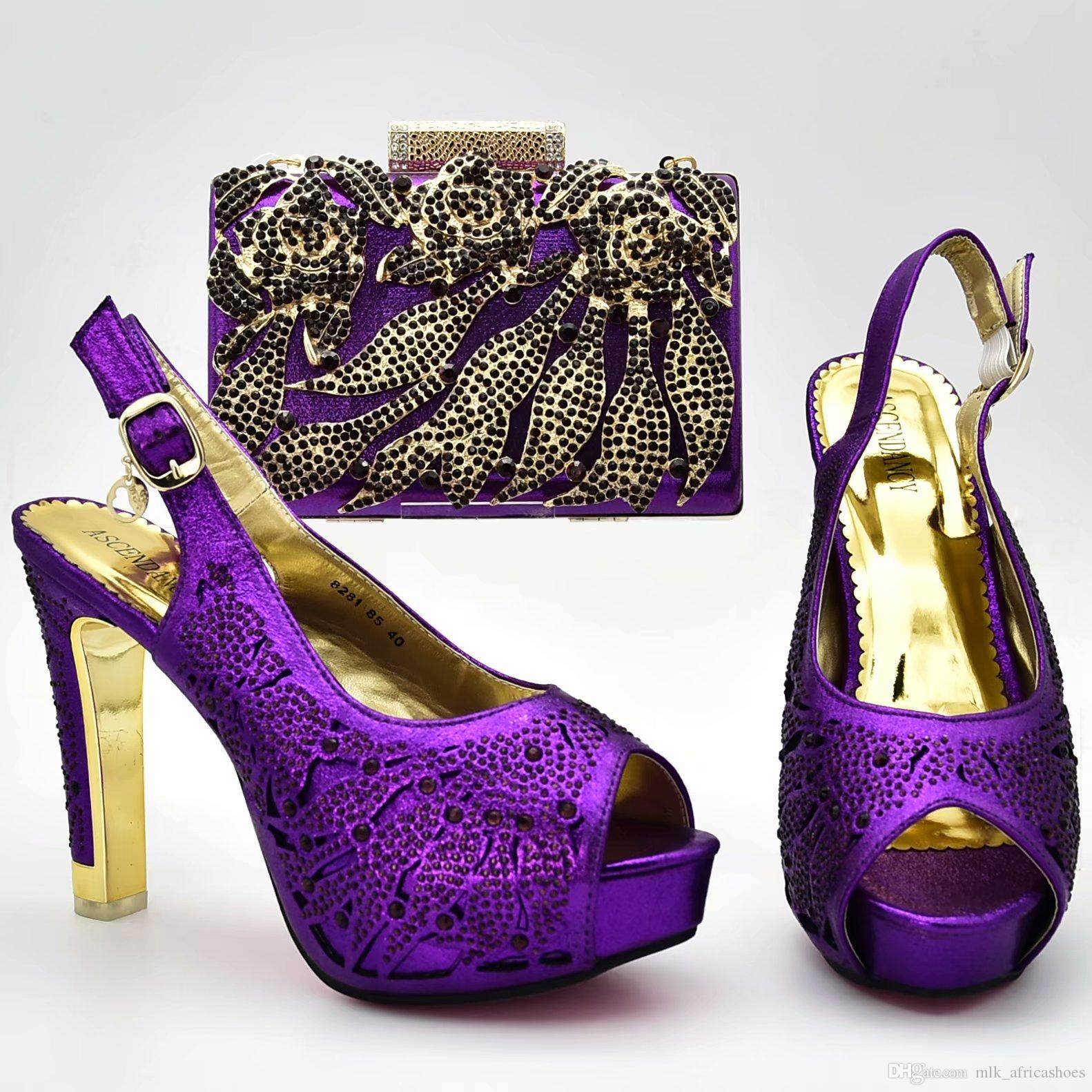 Italian Shoes With Matching Bag Women Pumps 2018 Purple Color African Party  Shoes And Bag Set High Heels 12cm Penny Loafers Wedges Shoes From ... 00c0a2526703