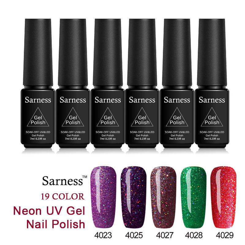 Sarness Shining Sequins Uv Gel Nail Polish Lacquer Kits Neon Nail