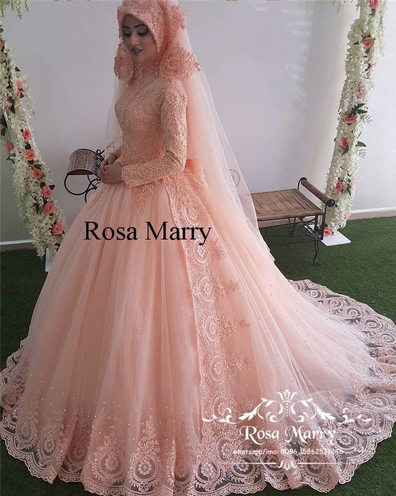 87386b08707 Discount Blush Pink Islamic Hijab Wedding Dresses 2018 High Neck Long Sleeves  Vintage Lace Pearl Plus Size Kaftan Abayas Vestido De Novia Bridal Gown ...