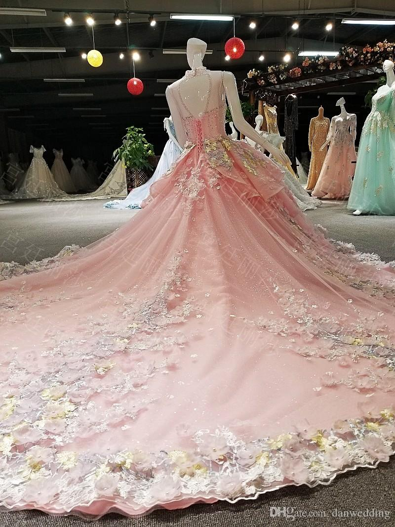 Romantic Pink Lace Backless Applique Beads Ball Gown Wedding Dresses Bridal Dresses Events Dresses Custom Size 6 8 10 12 W307145