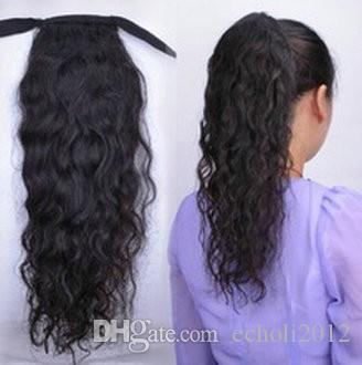 Human hair wavy curly ponytail hairpiece wrap around clip in drawstring brazilian hair drawstring ponytail for black women 120g