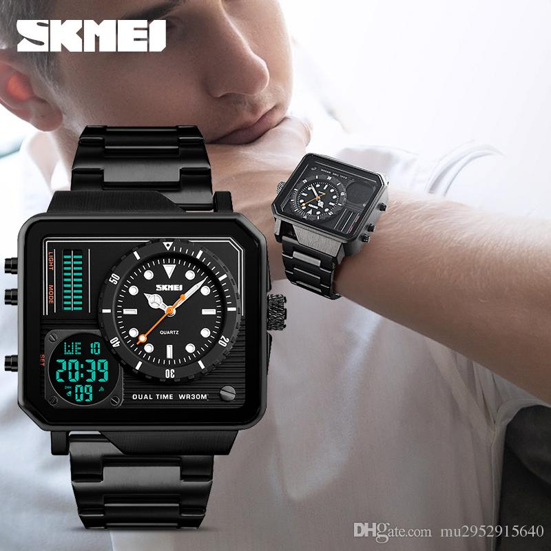 3a215b759 SKMEI stainless steel men's business watch top brand luxury quartz military  large dial sports watch men's waterproof watch LED dual display