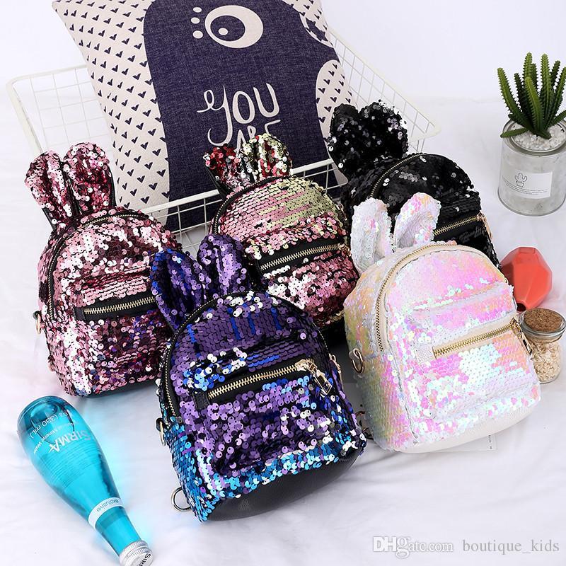 Home 2019 Baby Accessories Women Girls School Backpack Crown Sequins Travel Cartoon Rabbit Shoulder Bag Rabbit Cartoon Backpacks Gift