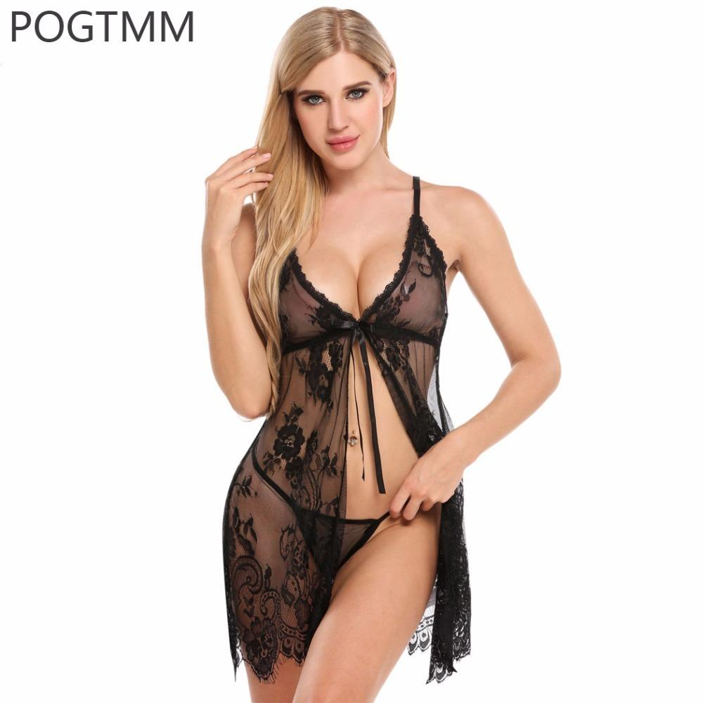 ab9c9b34b17 Sexy Open Babydoll Lingerie Erotic Hot Sex Costume Transparent Floral Lace  Short Mini Sleepwear Nightwear Exotic Apparel Red XXL Y18110504 Matching  Panties ...