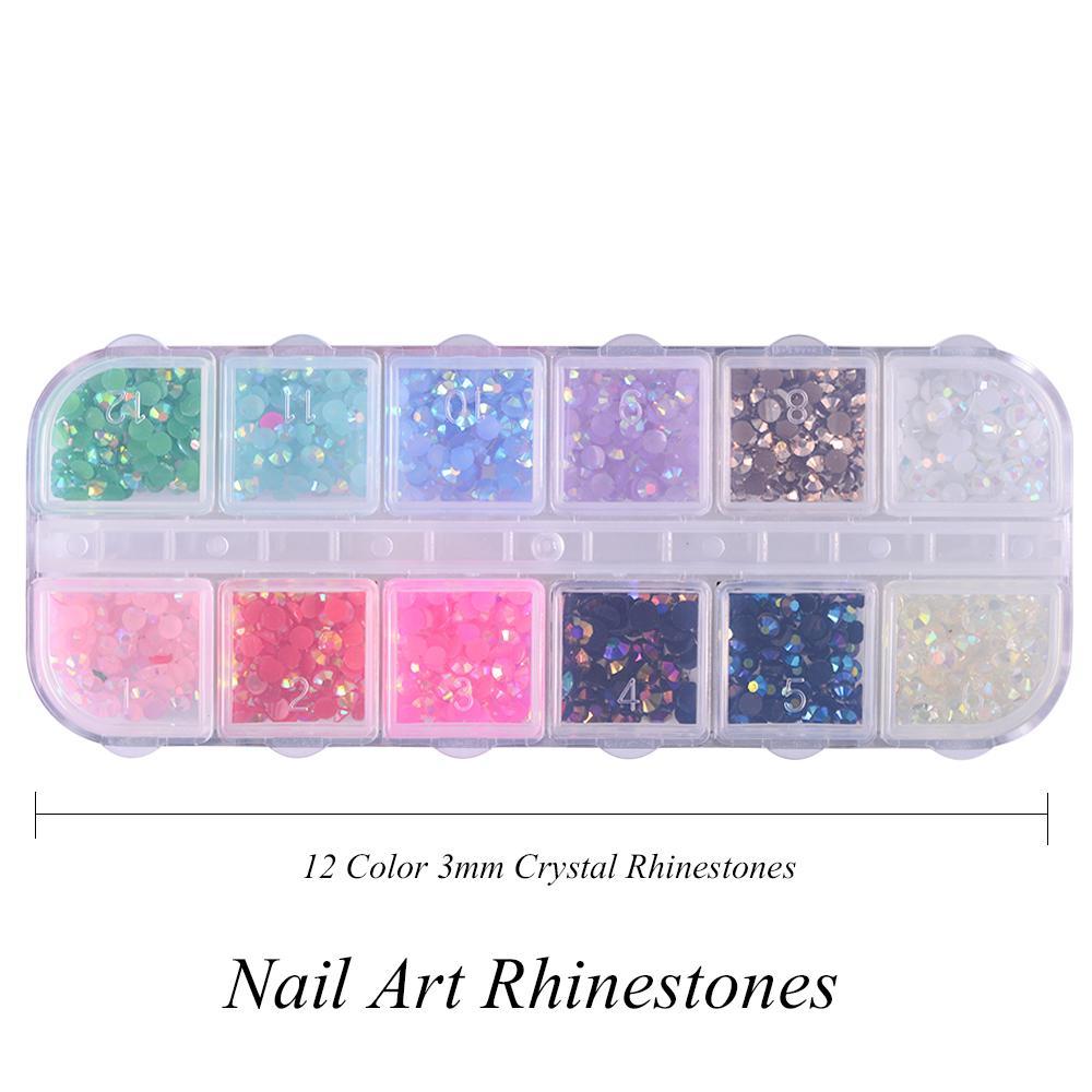 Ecorative Glitter  Box 3mm Crystal Colorful Jelly Rhinestones 3D Nail Art  Decor Glitter Gems Stones Manicure DIY Flatback Beads C.. 2fec10e33605