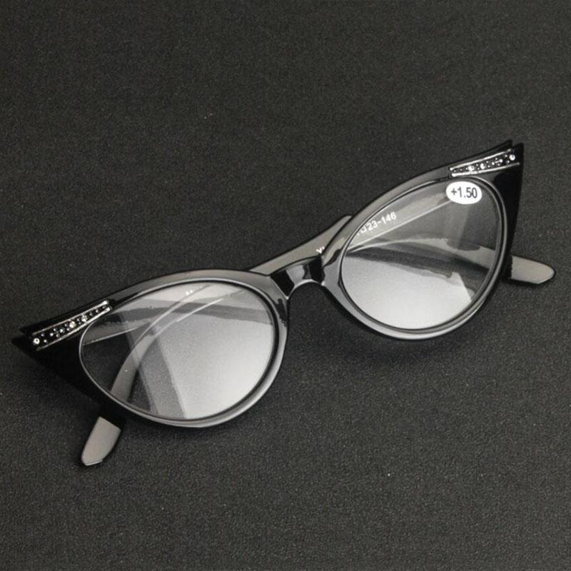147d56417b Retro Reading Glasses Cat Eye Eyeglasses Women Eyewear Magnifying Eye Reader  +1.0~+3.5 Strength Resin Lens Black Full Frame Prism Reading Glasses Reading  ...