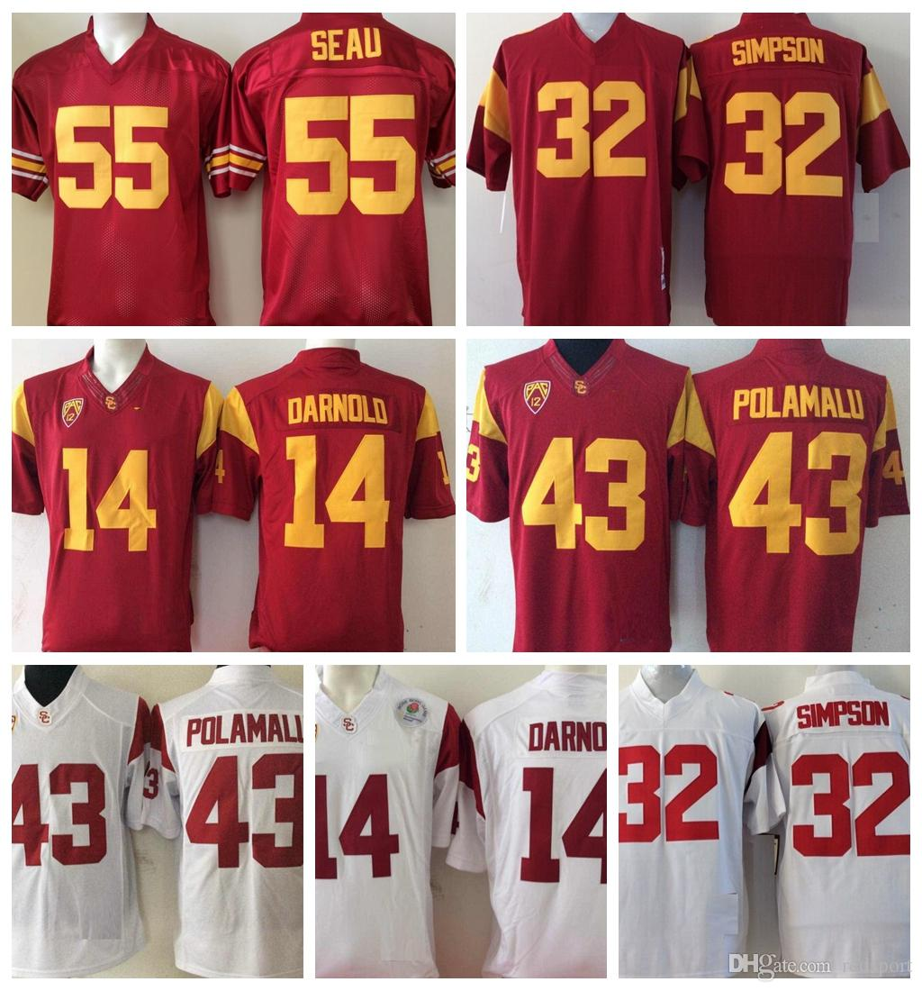 size 40 87b74 ba215 2018 USC Trojans 14 Sam Darnold College Football Jerseys 5 Bush 32 O.J  Simpson 55 Junior Seau 43 Troy Polamalu University Football Shirts