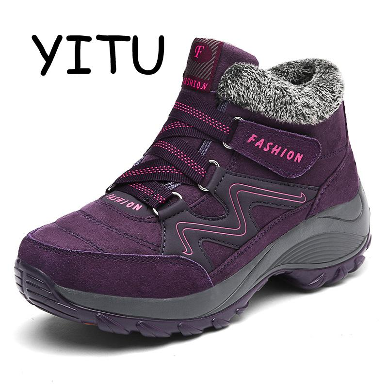 YITU Plush Warm Winter Hiking Boots Women Waterproof Mountain Hiking Shoes  Breathable Walking Leather Trail Sneakers Female UK 2019 From Teahong 52e1bea62