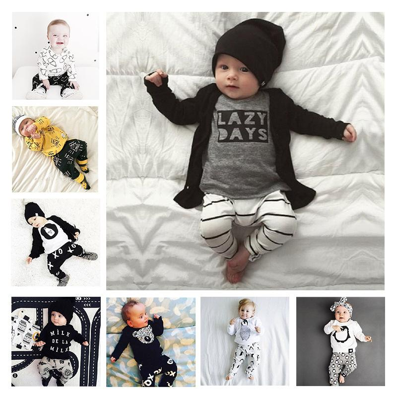 6356a23ba3acc 2019 Infant Pajamas Baby Clothing Sets Boy Long Sleeve Spring Autumn Winter  Outfits Set Toddler Letter Suits Baby Girls Newborn Clothes Set From  Haofei3487