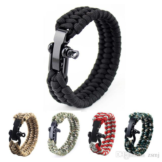 Luggage & Bags Purple Wholesale 5pcs*7 Strand Survival Military Weave Bracelet Cord Buckle