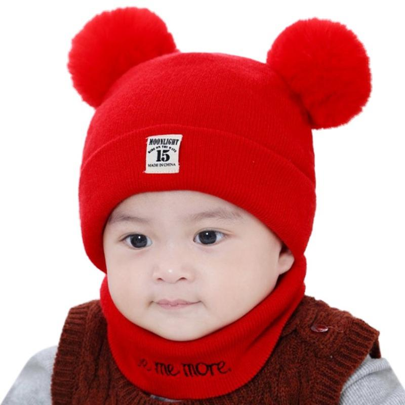 2c3c3b306 Baby Cap+Scarf Winter Baby Hats Warm Newborn Photography Props Hat ...