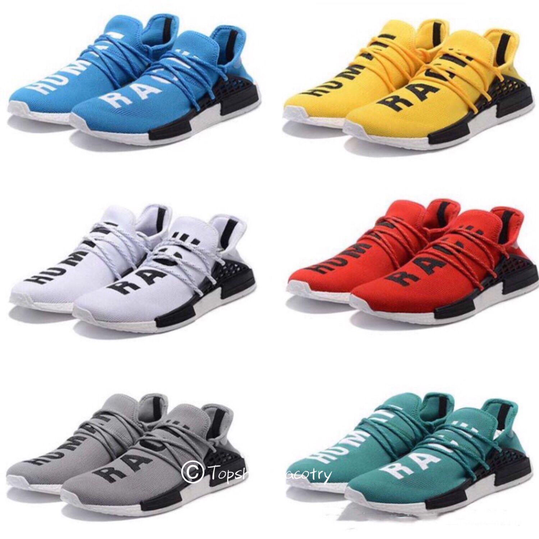 e5bb6f72186 Compre Adidas NMD Yeezy Boosts Running Barato Human Race Trail Tênis De  Corrida Das Mulheres Dos Homens Pharrell Williams HU Corredor Amarelo Preto  Branco ...