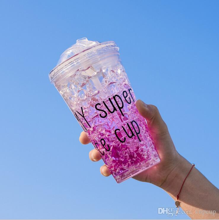 Summer ice cup straw plastic hydrogel ice student double refrigeration belt straw push cover ice cool cup