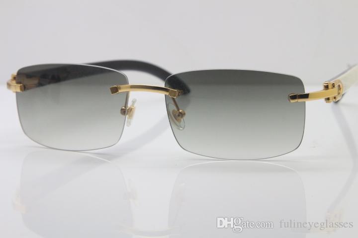 도매 하이 엔드 8,200,757 무테 화이트 내부 블랙 버팔로 호른 선글라스 18K 골드 여자 안경 운전 안경 크기 : 56-22-140mm