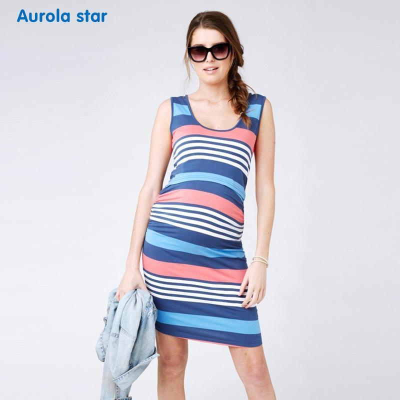 46c13db792a40 2019 Striped Nursing Dress For Pregnant Women Breastfeeding Nursing Clothes  Casual Sleeveless Stripe Dresses Lactation Dresses Summer From Paradise02,  ...