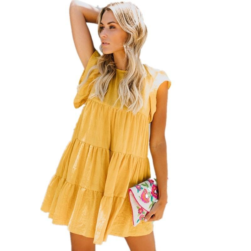 51455e383 Vestido suelto de las mujeres de verano Lossky 2018 Vestido de playa  informal O-cuello de las mujeres de manga del volante Blanco Amarillo  Pastel de ...