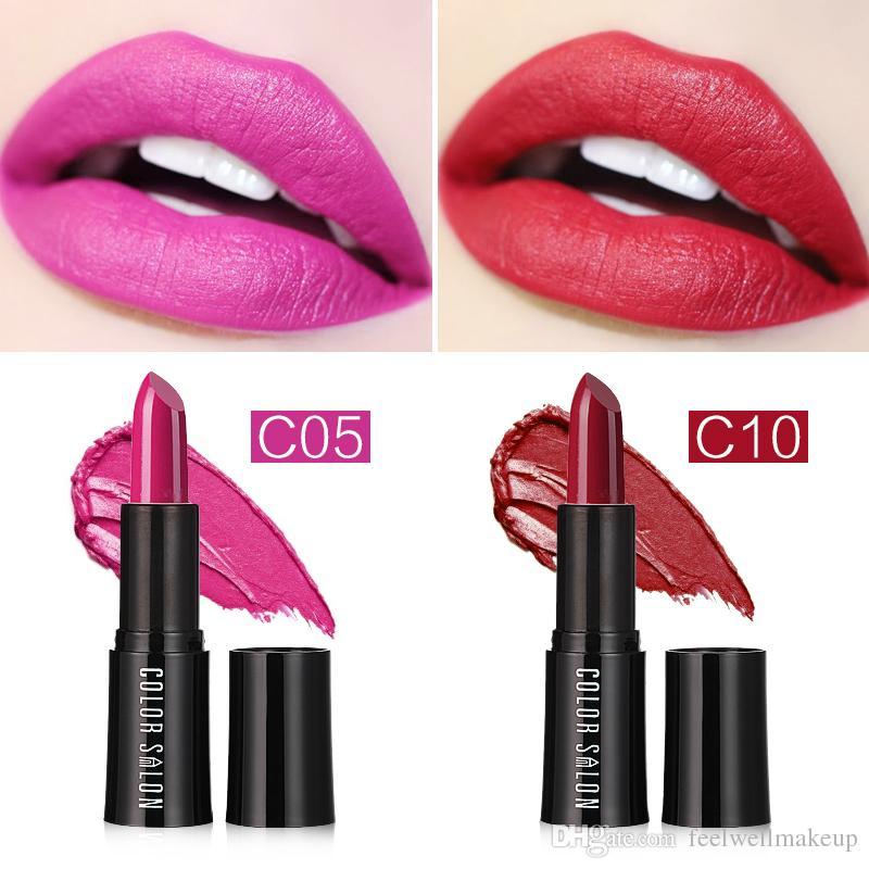 Color Salon Crema Hidratante Lápiz Labial es Maquillaje Sexy Larga duración Rosa Rojo Marca Pintalabios Rosa Pigmento Lápiz Labial Cosmético