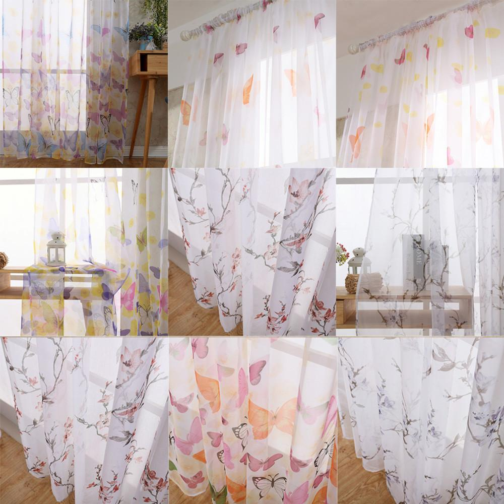 2018 Butterfly Tulle Voile Door Window Curtain Drape Panel Sheer Scarf  Valances Indoor Room Balcony Curtains Home Decoration Yf From Suozhi1996,  ...