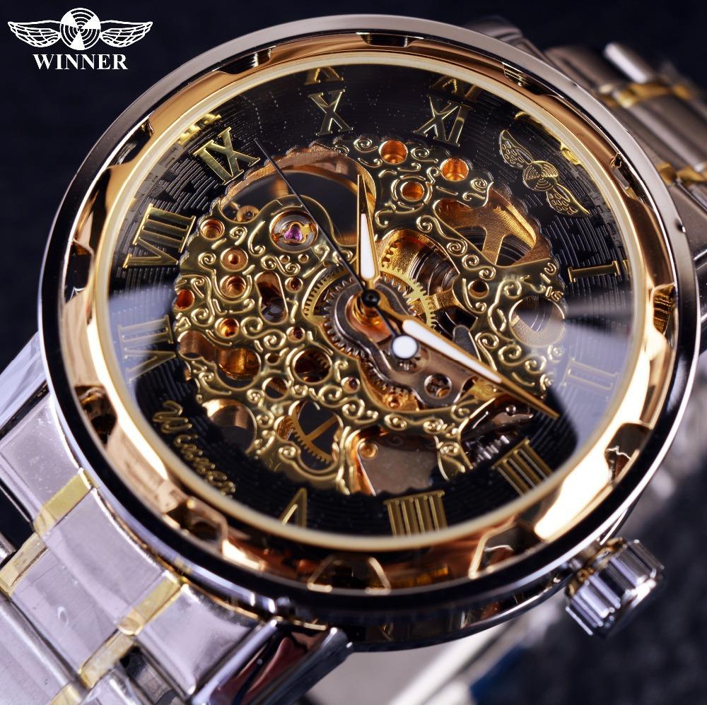 3e7030faab1 Compre Relógio De Ouro Transparente Relógios Dos Homens Top Marca De Luxo Relogio  Relógio Masculino Relógio Ocasional Dos Homens Montre Homme Esqueleto ...