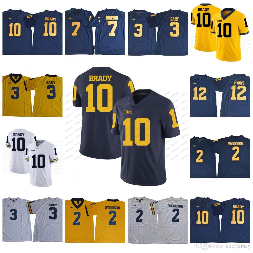 online store 57a2a 45067 NCAA Michigan Wolverines College Football #10 Tom Brady Jersey Wholesale #2  Charles Woodson Navy Blue White Yellow Stitched S-3XL