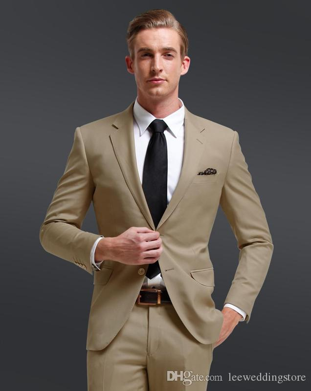 Custom Made Mens Suits Light Brown Casual Business Blazer Handsome Wedding Suits Groomsman Dress Suits Best Man Terno Jacket+Pants