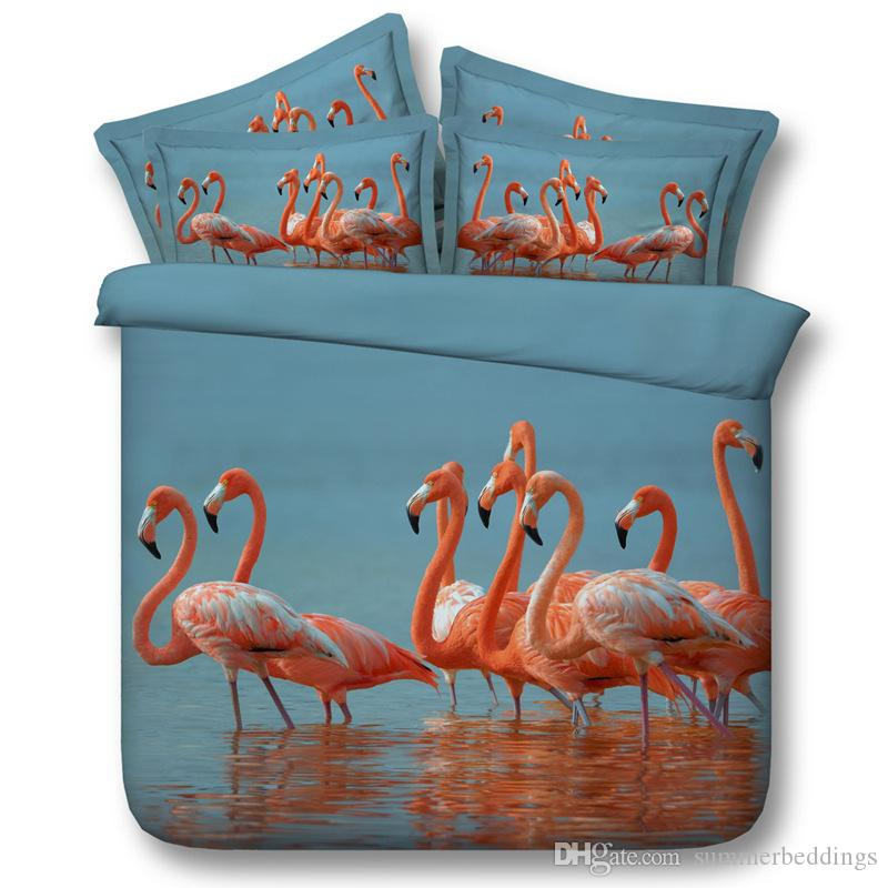 Grosshandel 3d Flamingo Bettwasche Sets Tier Bettbezug Ozean Strand