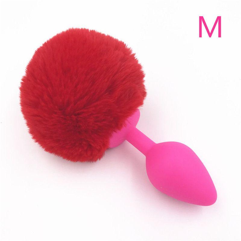 Anal Plug Rouge Lapin Queue Silicone Butt Pompon Butt Plug Doux Boules En Peluche Anal Sex Toys pour Hommes et Femmes H8-1-61A