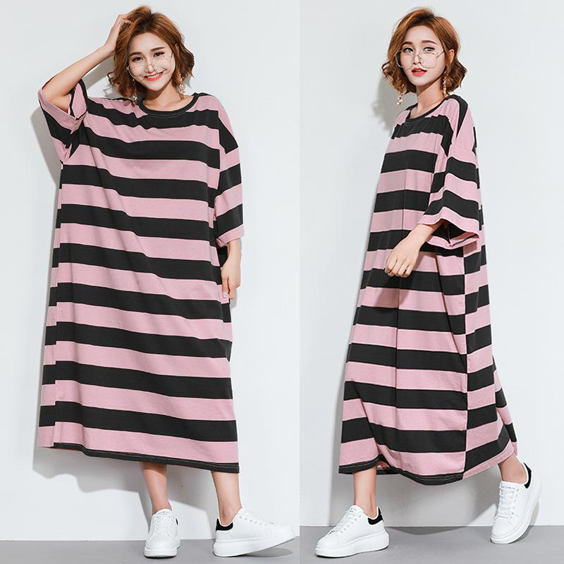 Lady plus size loose maxi dress woman scoop neck striped pattern batwing  sleeve long gown