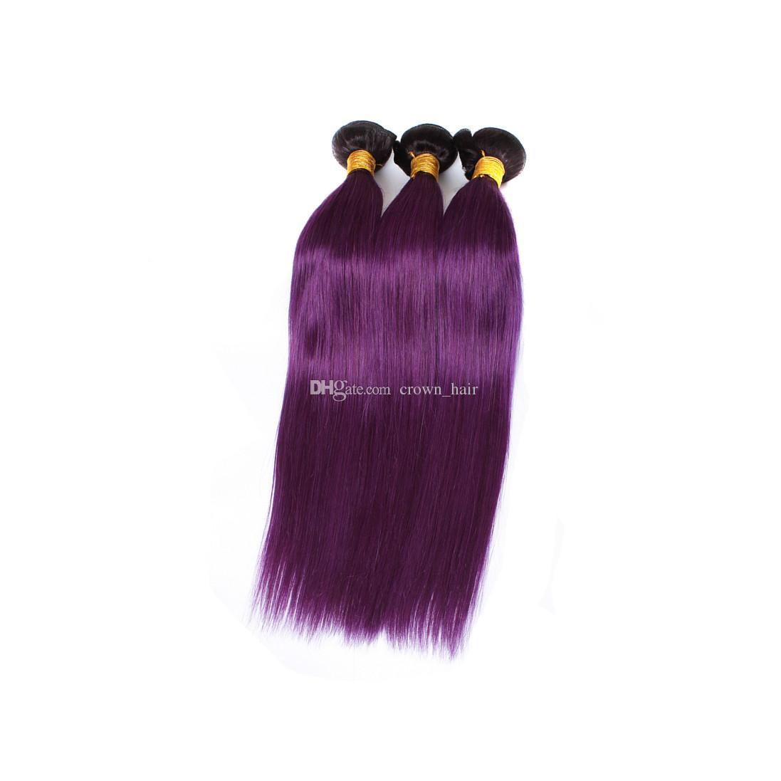 Dark Root Two Tone Malaysian Human Hair Bundles # 1B Púrpura Straight Human Hair Extensions Ombre Purplr Hair Weaves Double Wefted