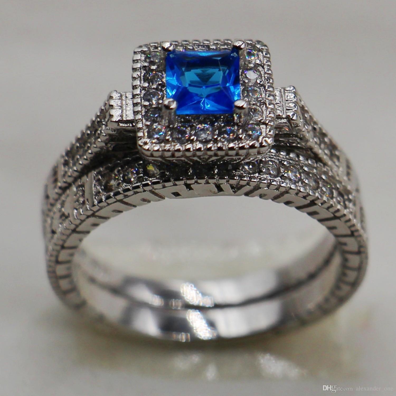 Старинные 10kt белого золота заполнены комплект ювелирных изделий синий  сапфир имитация алмазов CZ драгоценный камень кольца наборы свадьба невеста  группа ... 0bb24b46e3d