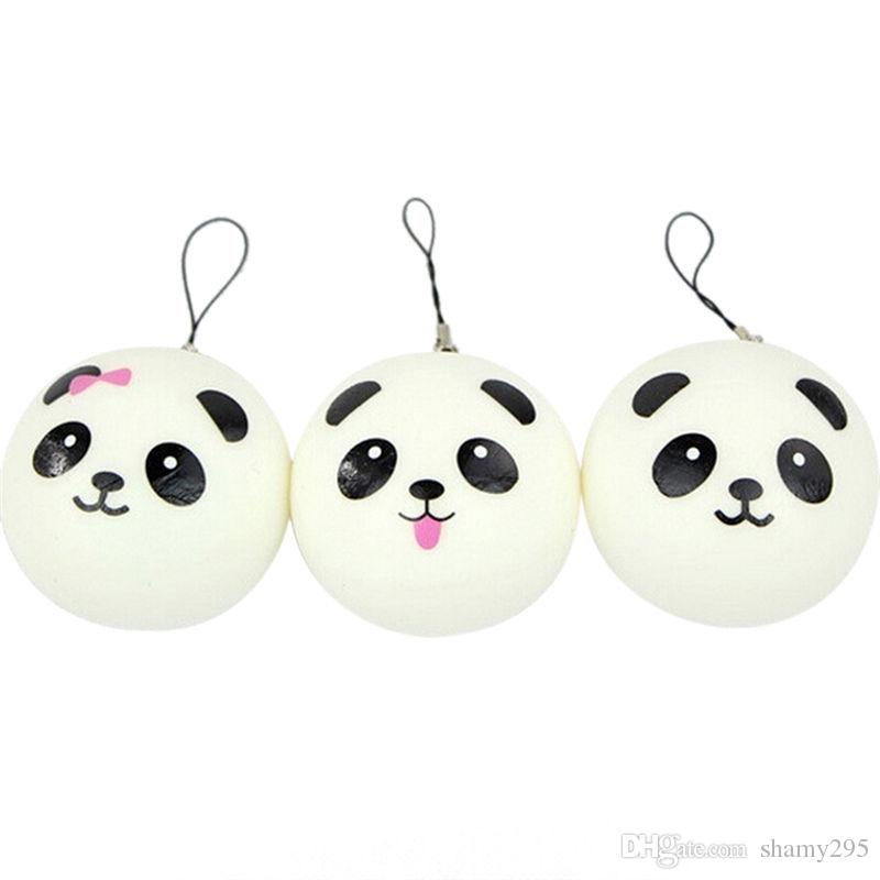 New 10cm Kawaii Jumbo Soft Squishy Panda Buns Bread Bag Cell Phone Strap Cute Animal Panda Charm Random Pattern 2018 new hot
