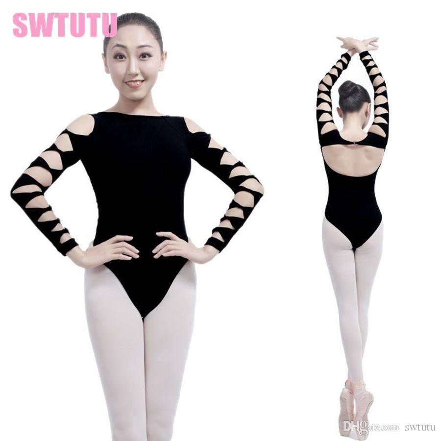 bc868ee42 2019 Sexy Backless Adult Girl Black 3 4 Long Sleeve Ballet Dance ...