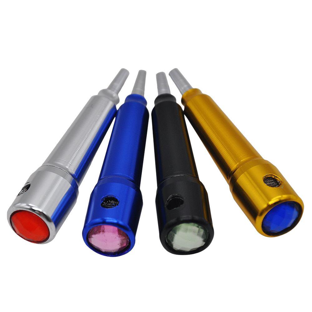 Mini Petit Tiges De Tabac Fumée Métal Tuyaux Portable Creative Fumer Tuyau Herb Tuyaux De Tabac 155MM Aluminium.Couleur Aléatoire