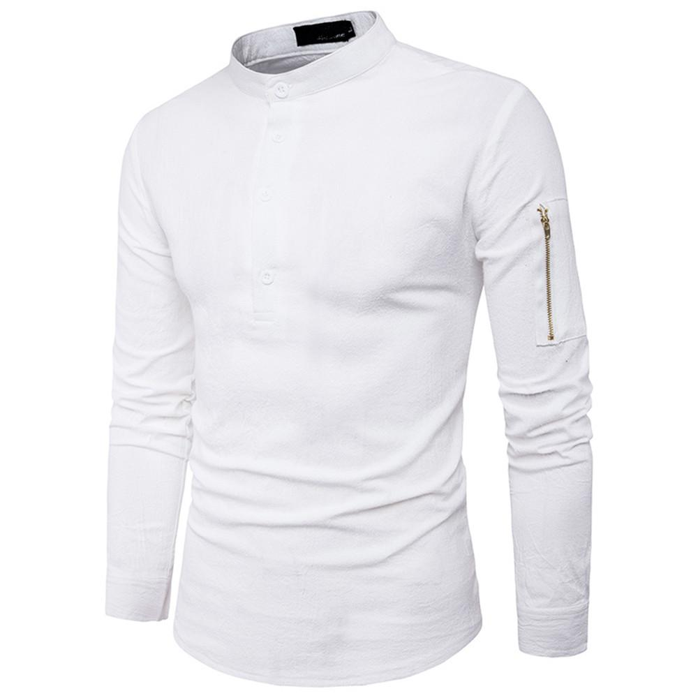 0af2d433 2019 Slim Shirts Male Korean Style Men Blouse Solid Color Fashion Zipper  Sleeve Tide Boys Black White Shirt New Spring Tops Novelty From  Ferdinand07, ...
