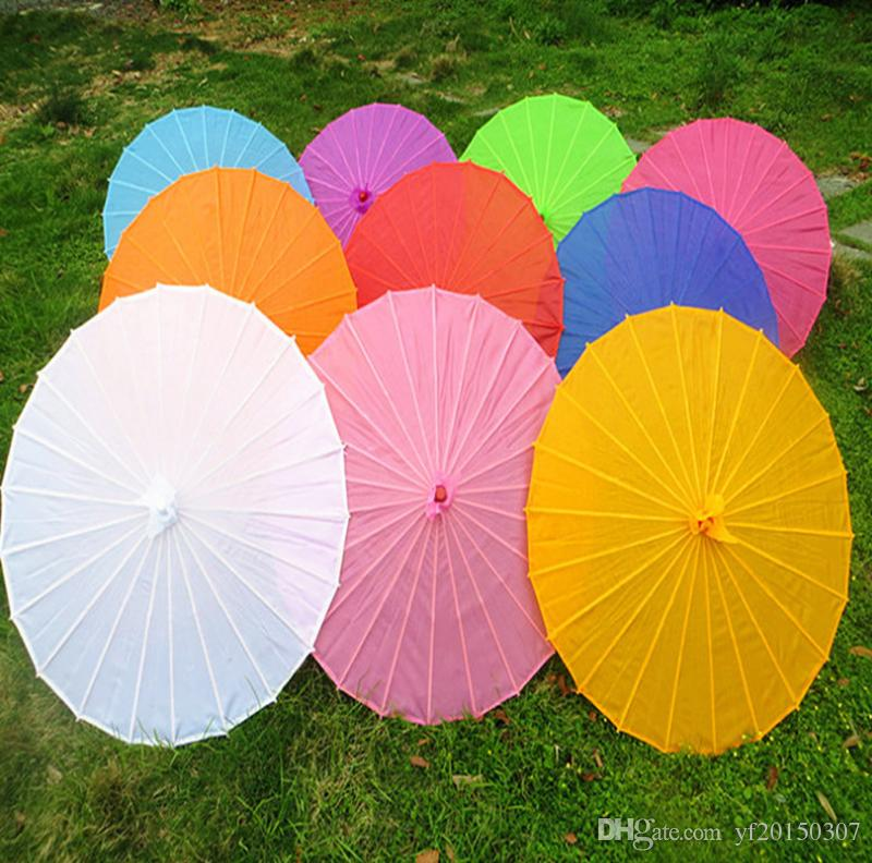 Chinese Colored Paper Umbrella, White Pink Parasols, China Traditional Dance Color Parasol, Japanese Silk Wedding Props