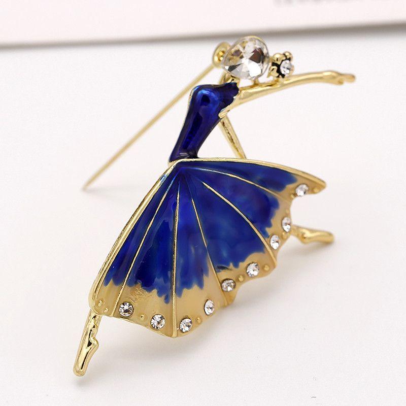 ALLYES Ballerina Spille le donne Monili di costume Collare di moda femminile Risvolto Ballerino di danza classica Spilla in cristallo blu smaltato con smalto