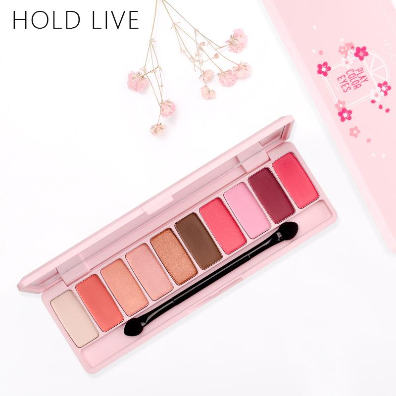 HOLD LIVE Peach Matte Eyeshadow Palette For Red Shadows Korean Makeup Brand Pink Cherry Blossom Glitter Eyes Shadows Palette Kit Gold Eyeshadow How To Do ...