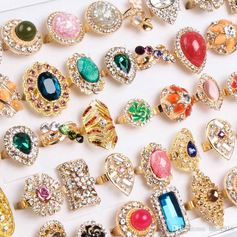 Gros mode en vrac / mélanger les styles réglables en alliage d'or cristal plaqué pierre gemme bijoux bohème anneaux discount promotion