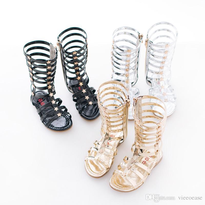 a7f084c16fed06 Acquista Vieeoease Girl Shoes Summer Kids Sandali 2018 Moda Coreana Bling  Star Long Tube Roma Scarpe HX 973 A $79.77 Dal Vieeoease   DHgate.Com