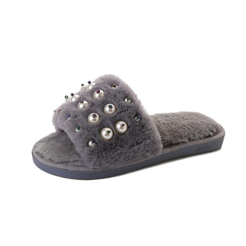 2c0bc6c5e Women Shoes Fur Flip Flops Sweet Pearl Fur Slides Women Designer Winter  Sandals Warm And Cozy Home Slippers With Flower Moccasins Thigh High Boots  From ...