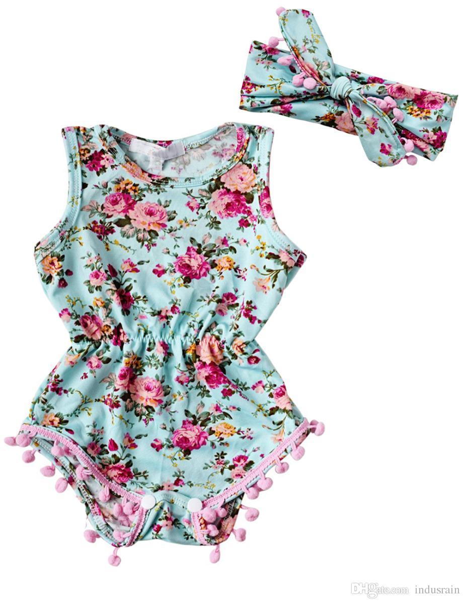 c05b9340e5b New Baby Girl Romper Summer Romper Newborn Infant Baby Girls Floral ...