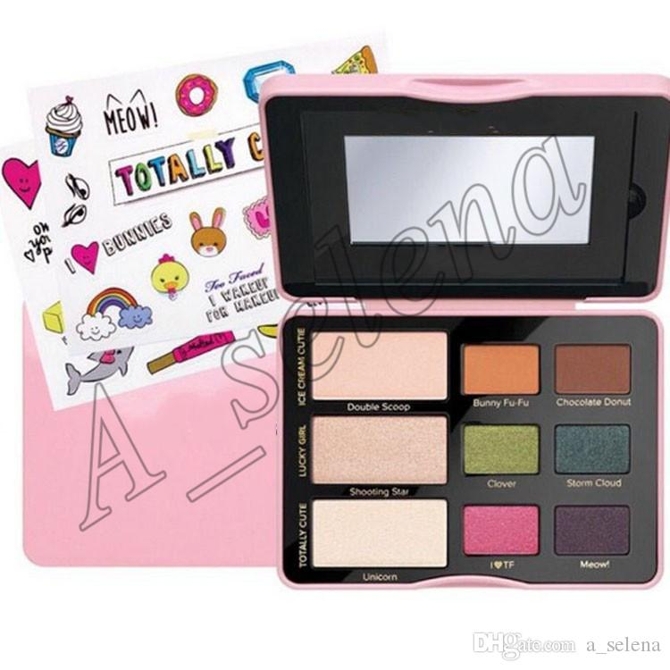 Faced eyeshadow palette Sugar Pop Eyeshadow Totally Cute Cat Eyes Shadow Palette Blush face Cosmestics Makeup
