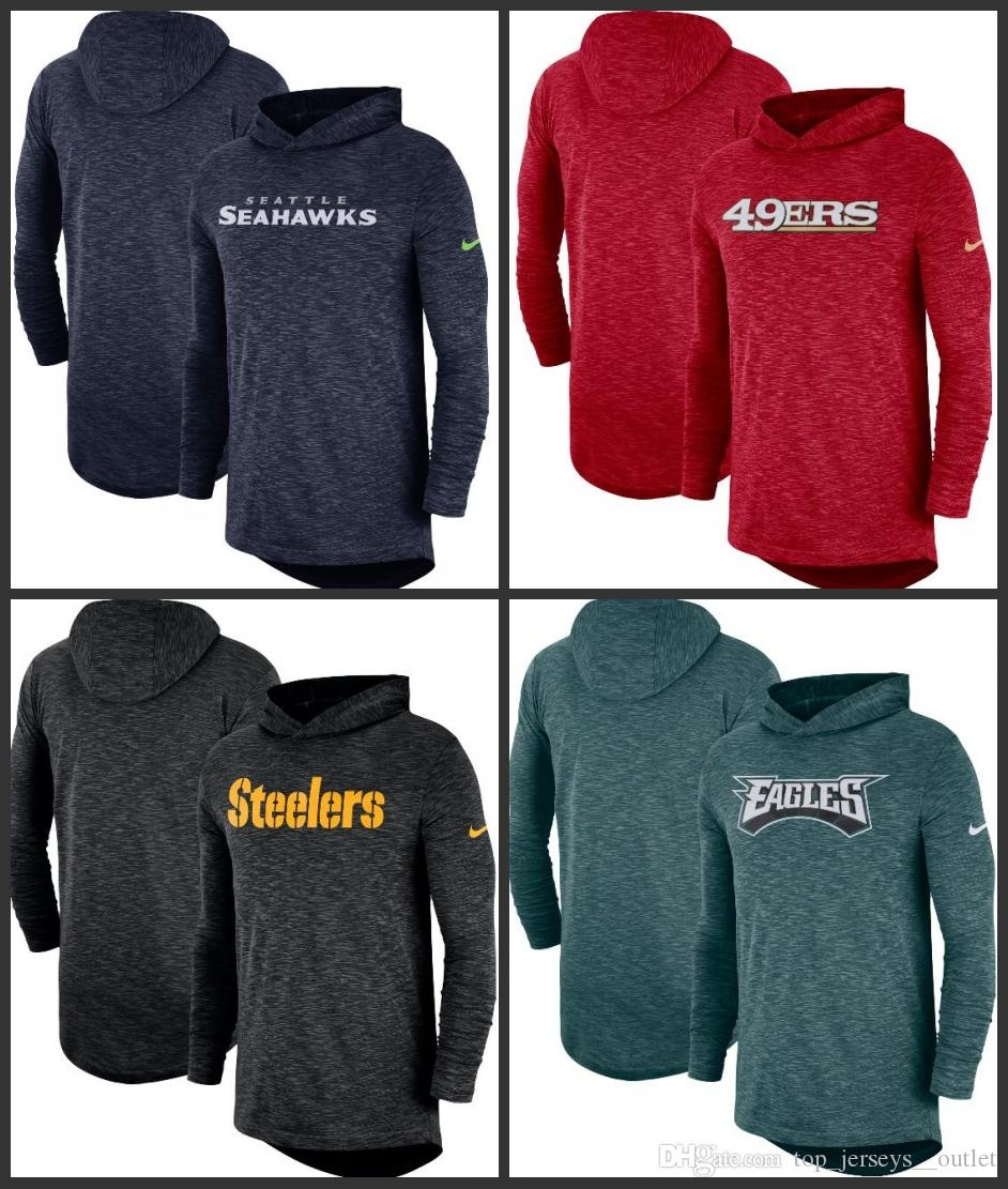 new style 97e9b 6d844 Seattle Seahawks San Francisco 49ers Pittsburgh Steelers Philadelphia  Eagles Men Sideline Slub Performance Hooded Long Sleeve T-shirt