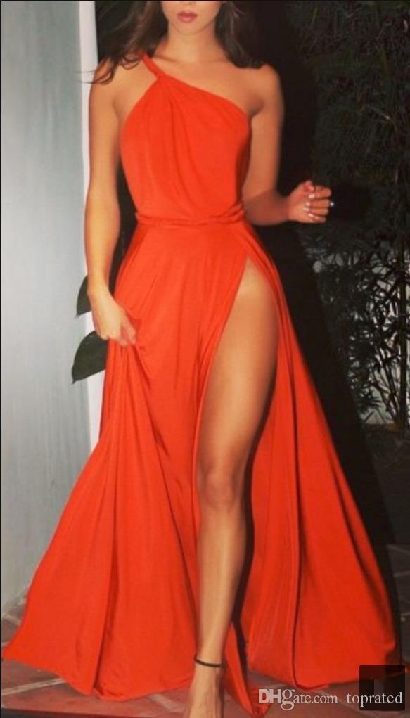 2019 Charming Fashion Orange Prom Dresses Evening Wear One Shoulder Pleats High Leg Split Draped Chiffon Formal Celebrity Runway Gowns Cheap