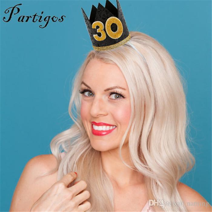 Happy Birthday Party Hats Decor Cap One Hat Princess Crown 18th 21st 30th Year Old Number Adult Hair Accessory Anniversary Favors