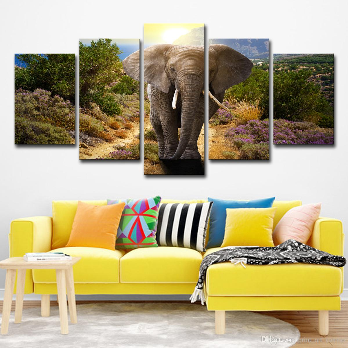 Modern Home Wall Decor Canvas Modular Picture Art HD Print Painting On Canvas Artworks 5 Panel Animal Elephant